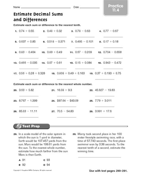 addition estimation worksheets rounding estimation