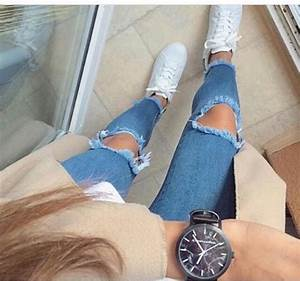 jeans, ripped jeans, light blue, light washed denim, high ...