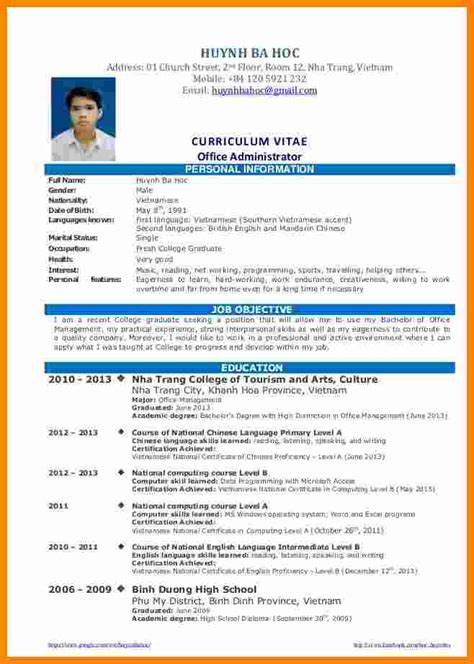 Graduate Resume by 8 Cv Sle For Fresh Graduate Doc Theorynpractice