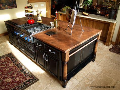 copper top kitchen island copper island countertop traditional kitchen by milo 5805
