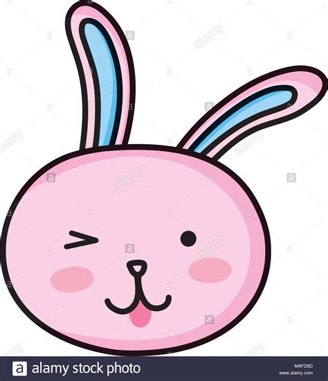 funny rabbit head animal cartoon stock vector art