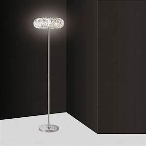 Diyas uk banda il30088 polished chrome crystal 6 light for Floor lamp with tube light