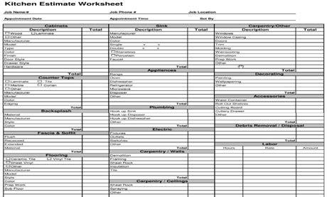 construction estimating template kitchen cost estimate