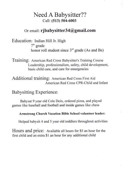Babysitting On Resume by R J S Babysitting