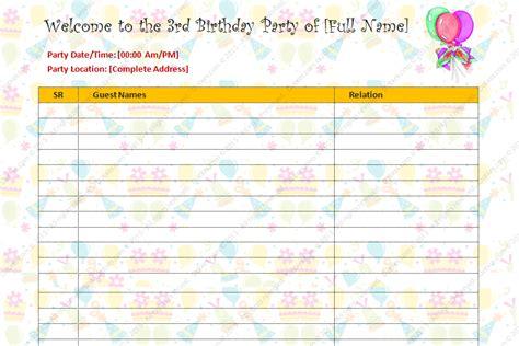 birthday party guest list template dotxes
