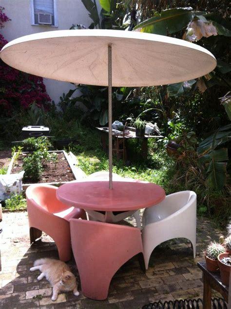 mid century fiberglass patio set w umbrella mid