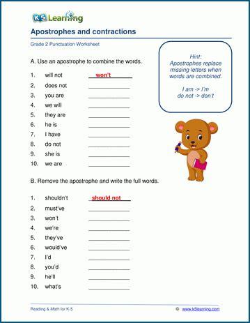grade 2 punctuation worksheets k5 learning