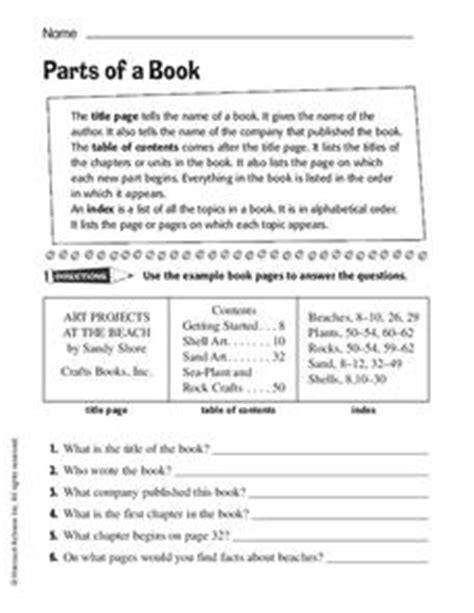 parts of a book worksheet for 2nd 4th grade lesson planet