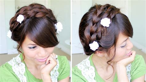 Summer Milkmaid Braided Updo Hairstyle For Medium Long