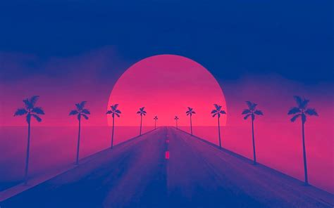 wallpaper  artistic minimalism sun retro wave