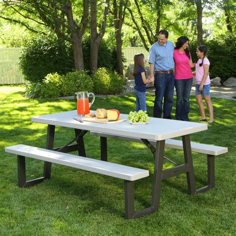 6 folding picnic table lifetime 60030 w frame 6 foot folding picnic table bench