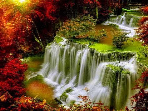 cascade falls autumn forest red leaves sunlight desktop hd