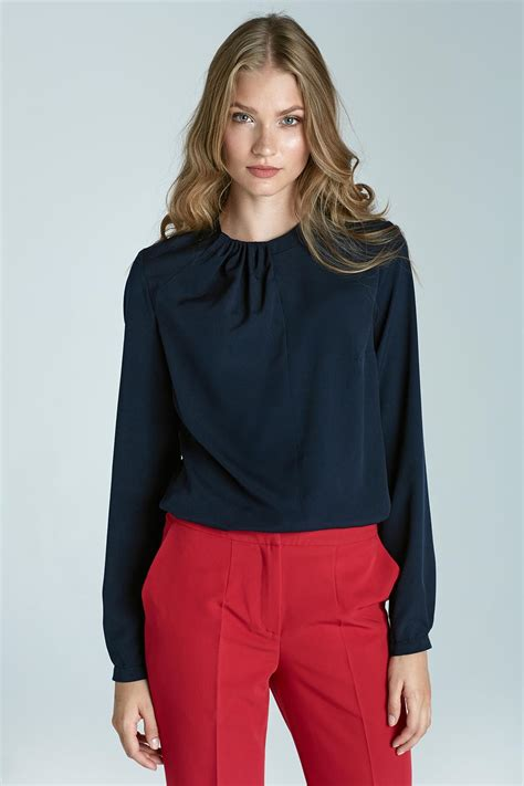 navy blouses navy blue pleated neckline blouse