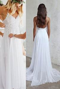 spaghetti strap v neck white lace appliqued beach wedding With spaghetti strap beach wedding dress