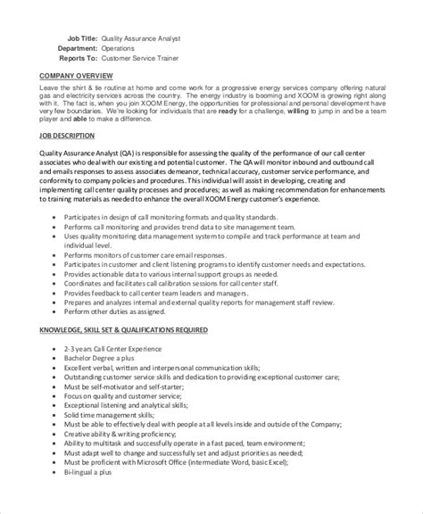 Call Center Quality Assurance Resume by Sle Quality Assurance Description 10 Exles In