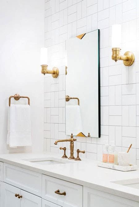 interior bathroom gold accents fixtures