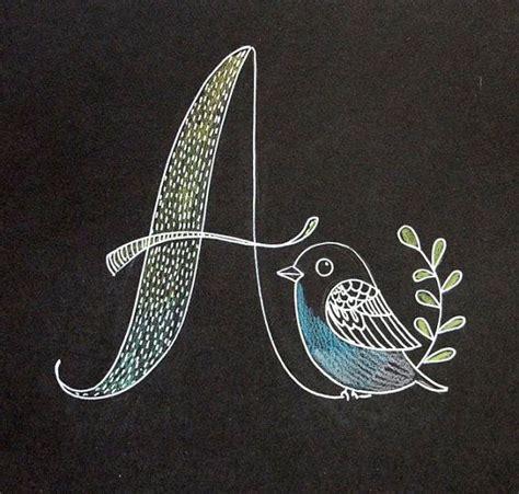 white  black chalk style monogram letter initial   bird original drawing  etsy