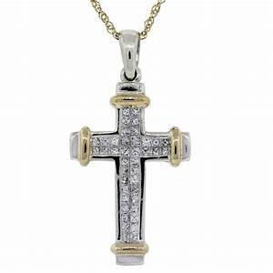 14k Two Tone Princess Cut Diamond Cross Pendant W Chain