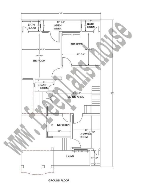 ground floor  feet  square meters house plan