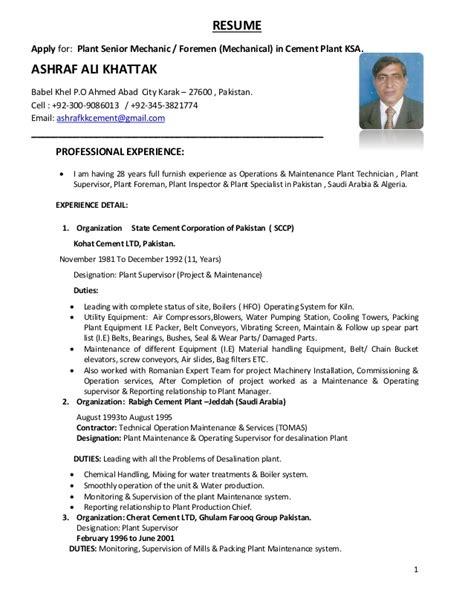Mechanical Maintenance Engineer Cv by Ashraf Ali Cv 1 4