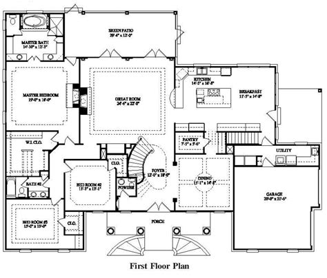 House Plans With Large Bedrooms by Colonial Style House Plan 7 Beds 5 00 Baths 4623 Sq Ft