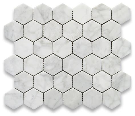 carrara white 2 inch hexagon mosaic tile polished marble