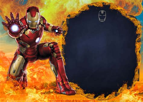 printable iron man  flames birthday invitation