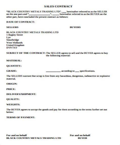 simple sales contract sample  examples  word