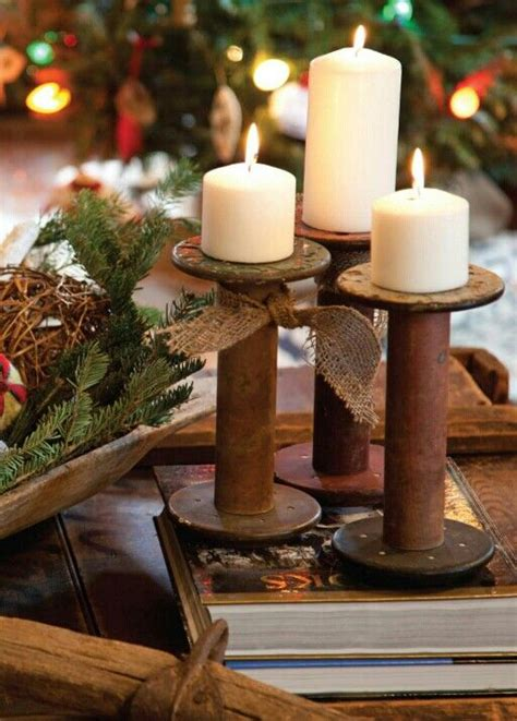 bobbins  candle holders christmas wooden spool
