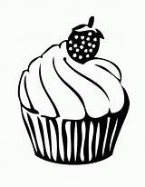 Cupcake Coloring Drawing Pages Line Cupcakes Strawberry Clipart Kitty Hello Cliparts Cake Cup Dibujos Para Colorear Library Mewarnai Clip Printable sketch template