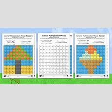 Ks1 Summer Multiplication Mosaics Differentiated Worksheet