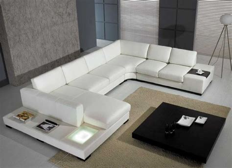 Set White Bonded Leather Sectional T35 Sofa With Light