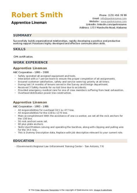 apprentice lineman resume samples qwikresume
