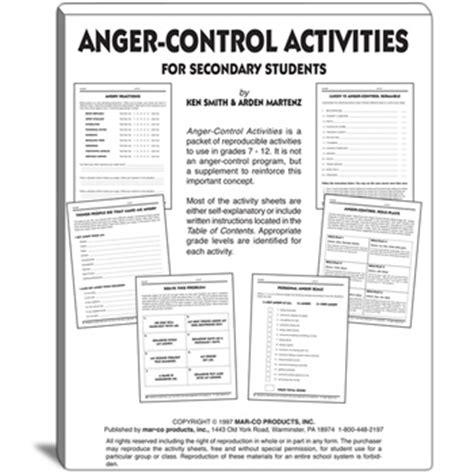 anger control activities  grades