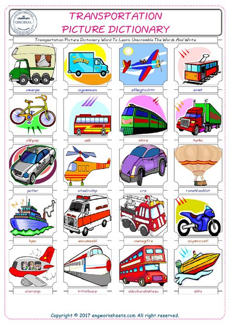 transportation esl printable english vocabulary worksheets