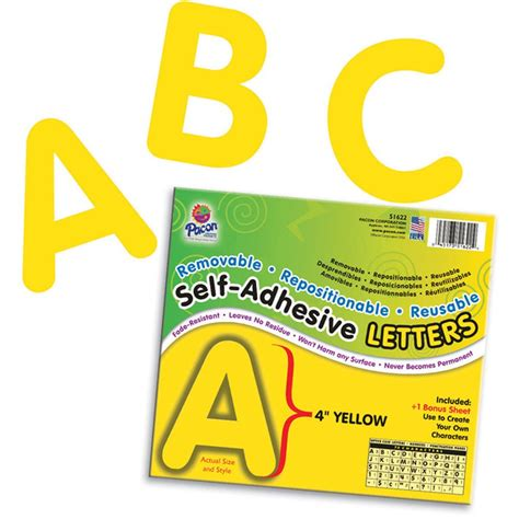 self adhesive letters self adhesive letter 4in yellow pac51622 pacon