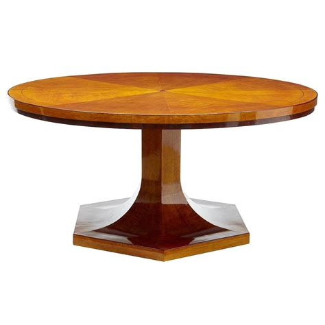 1920s Large Art Deco Birch Round Dining Table At 1stdibs