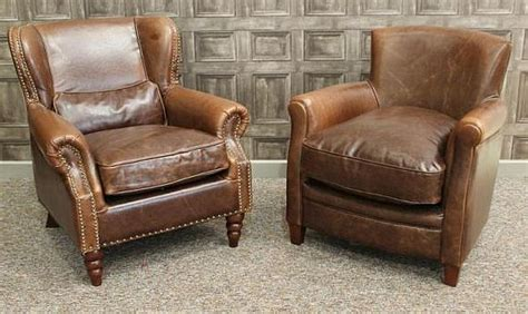 Retro Style Armchair by A Vintage Style Leather Armchair Brown Aged