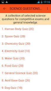 science questions answers android apps  google play