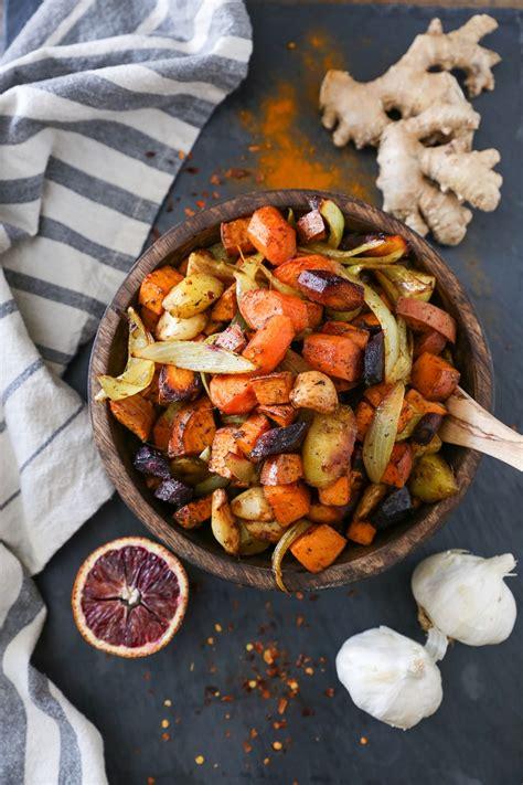 Orange Ginger Turmeric Roasted Root Vegetables The