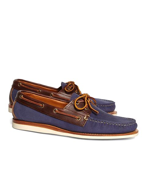 Brooks Brothers Boat Shoes by Lyst Brooks Brothers Rancourt Co Waxed Canvas Boat