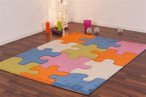 tapis de chambre tapis pour enfant play moderne puzzle bleu vert crème