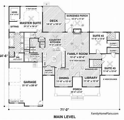 Ranch Plans Plan Floor Bedroom Carriage Porch