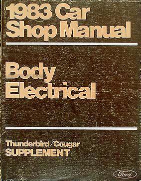 electric and cars manual 1983 ford thunderbird regenerative braking 1983 ford thunderbird mercury cougar body elec repair shop