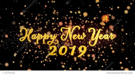 Happy New Year 2019 Abstract Particles And Glitter