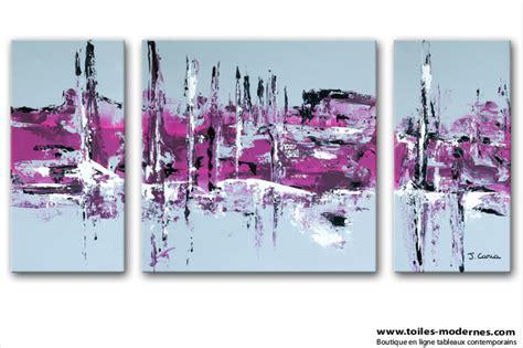 chambre a coucher contemporaine tableau moderne triptyque abstrait gris violet rectangle