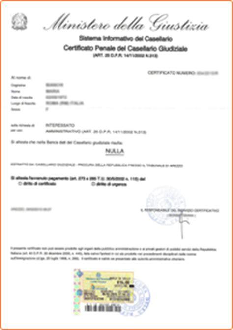 certificato penale casellario giudiziale evisura