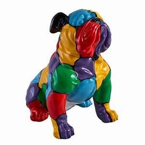 Statue Chien Design : statue sculpture d corative design chien buldog en r sine multicolore ~ Teatrodelosmanantiales.com Idées de Décoration