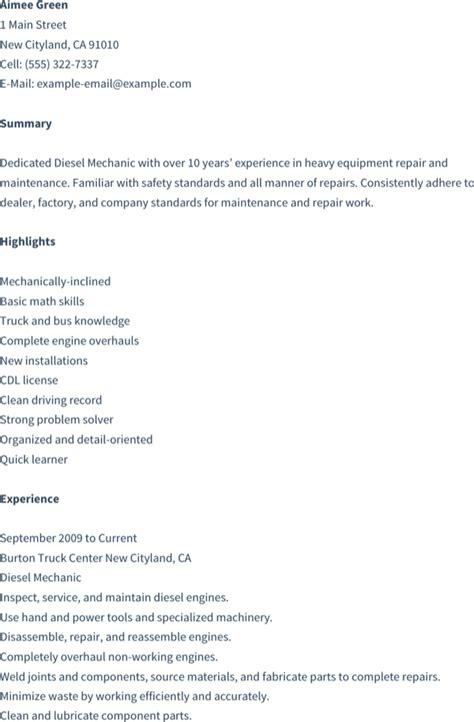 diesel mechanic resume   formtemplate