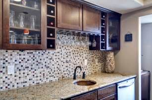 Mosaic Mirrors by Basement Wet Bar Backsplash Traditional Basement